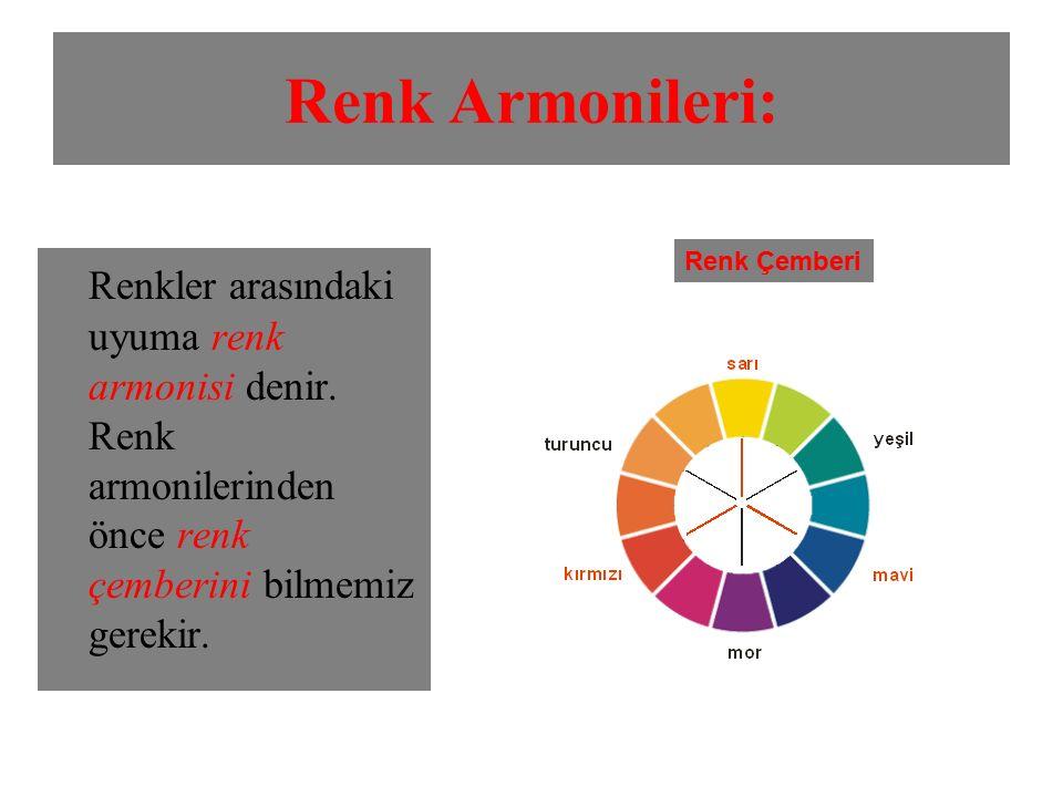 Renk Armonileri: Renk Çemberi. Renkler arasındaki uyuma renk armonisi denir.