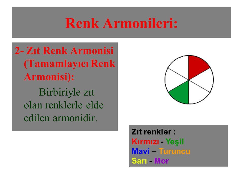 Renk Armonileri: 2- Zıt Renk Armonisi (Tamamlayıcı Renk Armonisi):