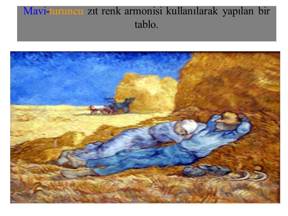 Mavi-turuncu zıt renk armonisi kullanılarak yapılan bir tablo.