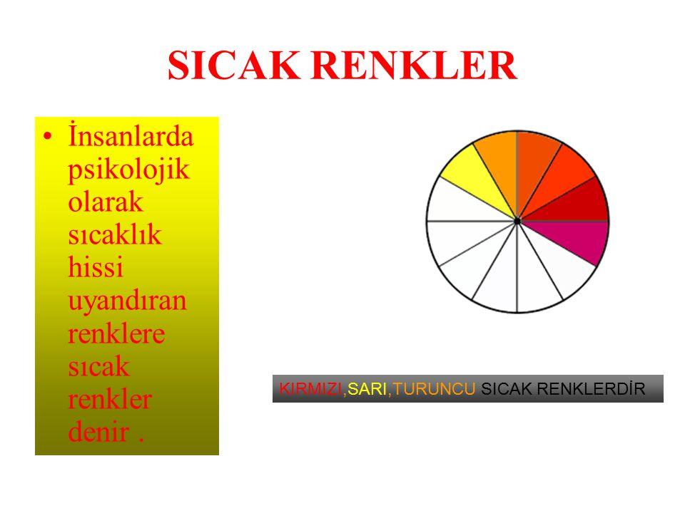 SICAK RENKLER İnsanlarda psikolojik olarak sıcaklık hissi uyandıran renklere sıcak renkler denir .