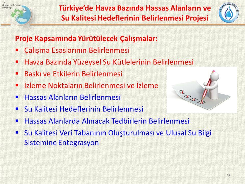 Türkiye'de Havza Bazında Hassas Alanların ve Su Kalitesi Hedeflerinin Belirlenmesi Projesi