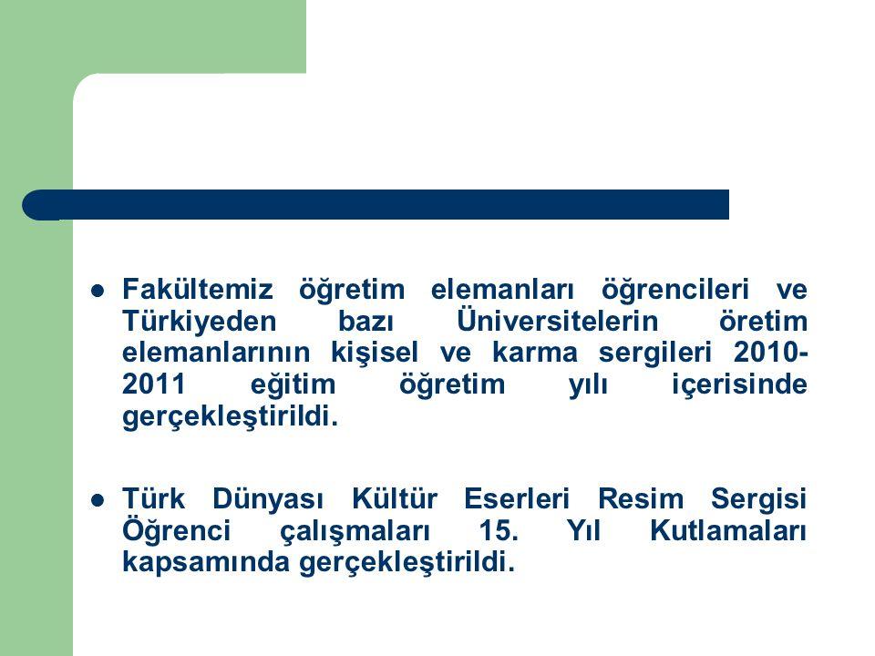 Fakültemiz öğretim elemanları öğrencileri ve Türkiyeden bazı Üniversitelerin öretim elemanlarının kişisel ve karma sergileri 2010-2011 eğitim öğretim yılı içerisinde gerçekleştirildi.