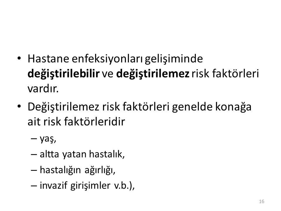 Değiştirilemez risk faktörleri genelde konağa ait risk faktörleridir