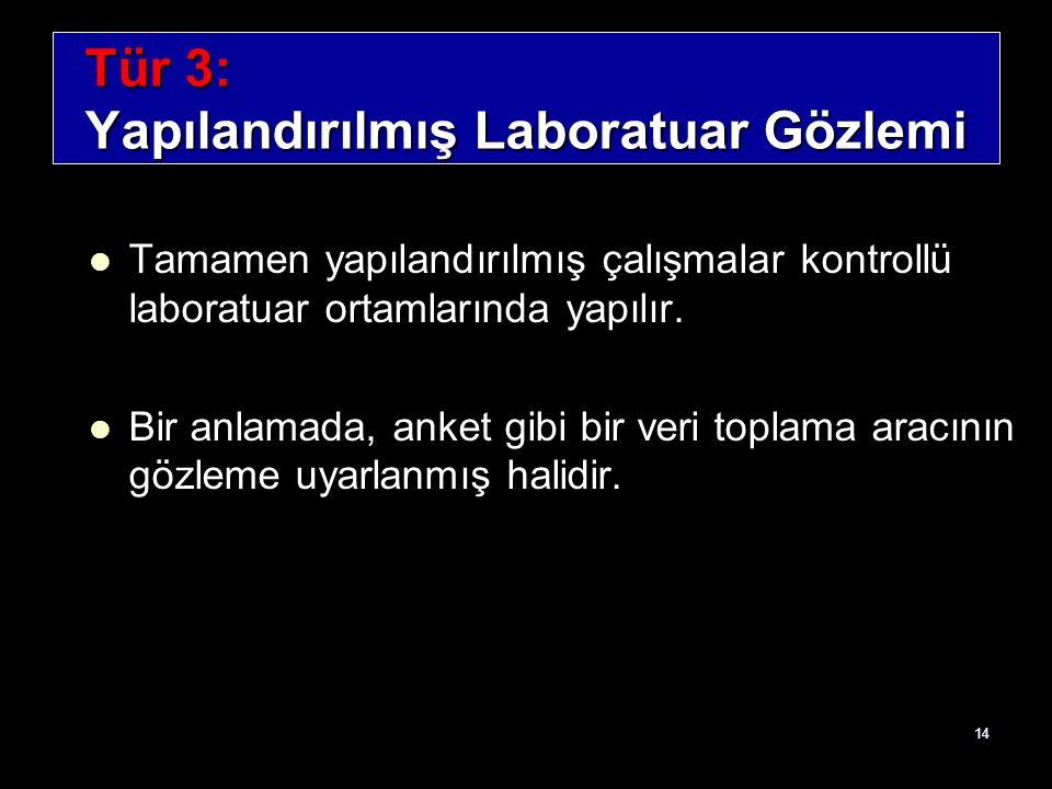 Tür 3: Yapılandırılmış Laboratuar Gözlemi