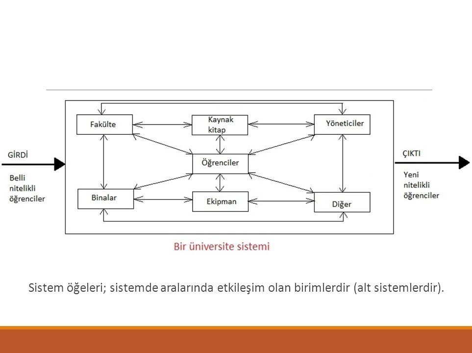 Sistem öğeleri; sistemde aralarında etkileşim olan birimlerdir (alt sistemlerdir).