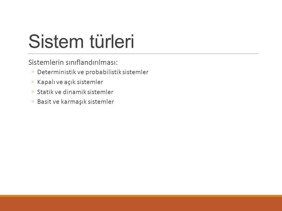 Sistem türleri Sistemlerin sınıflandırılması: