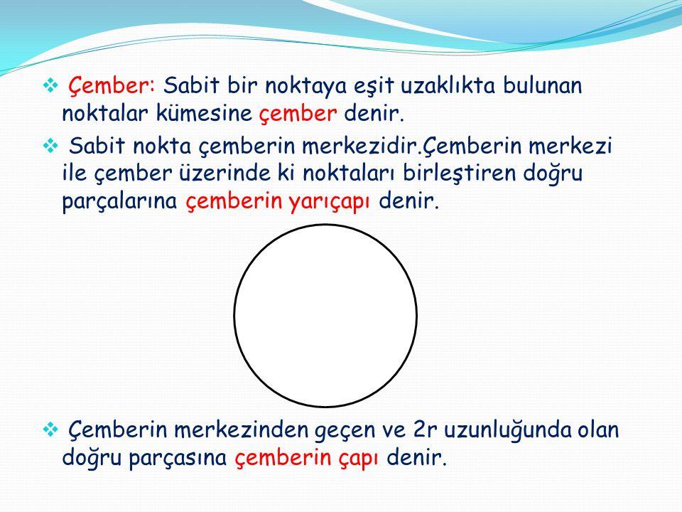 Çember: Sabit bir noktaya eşit uzaklıkta bulunan noktalar kümesine çember denir.