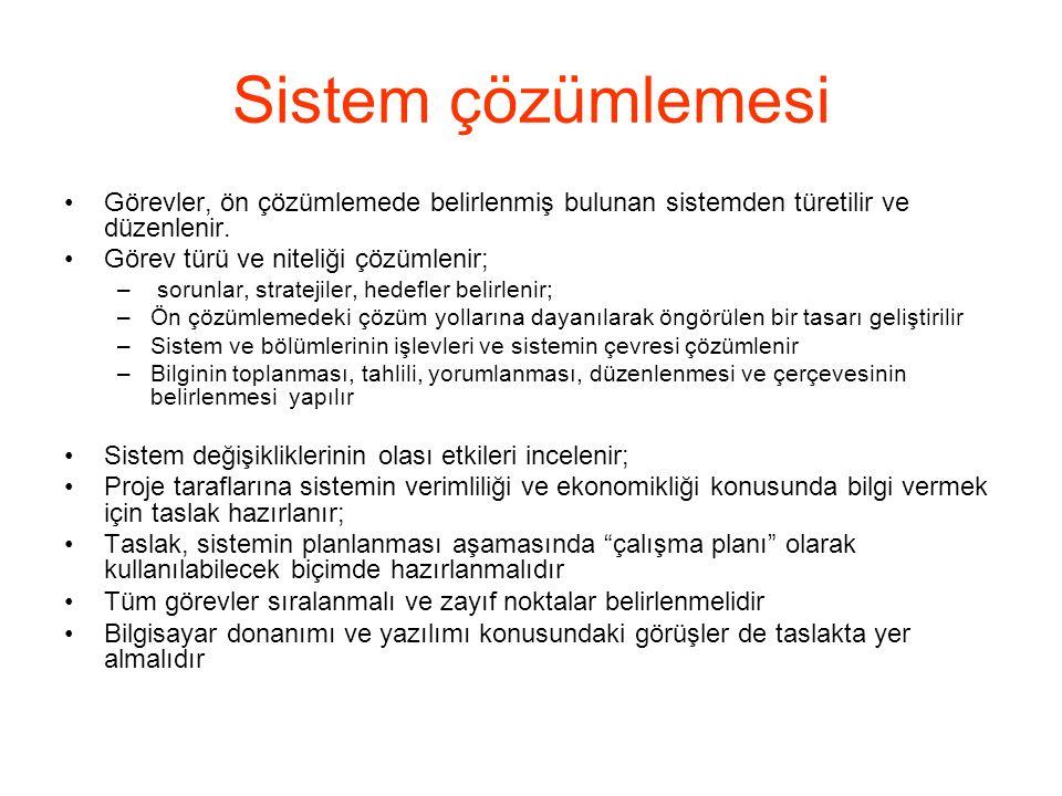 Sistem çözümlemesi Görevler, ön çözümlemede belirlenmiş bulunan sistemden türetilir ve düzenlenir. Görev türü ve niteliği çözümlenir;