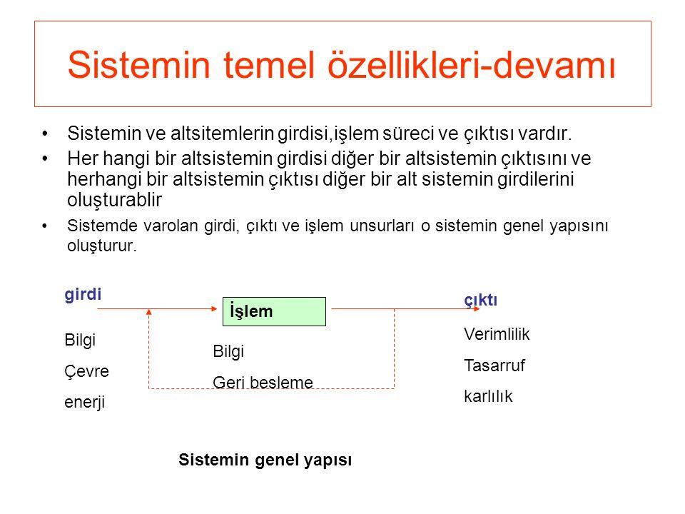 Sistemin temel özellikleri-devamı