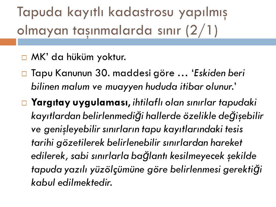 Tapuda kayıtlı kadastrosu yapılmış olmayan taşınmalarda sınır (2/1)