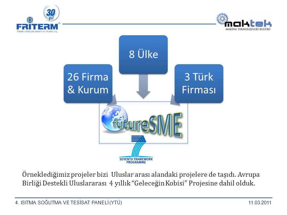 26 Firma & Kurum 8 Ülke. 3 Türk Firması.