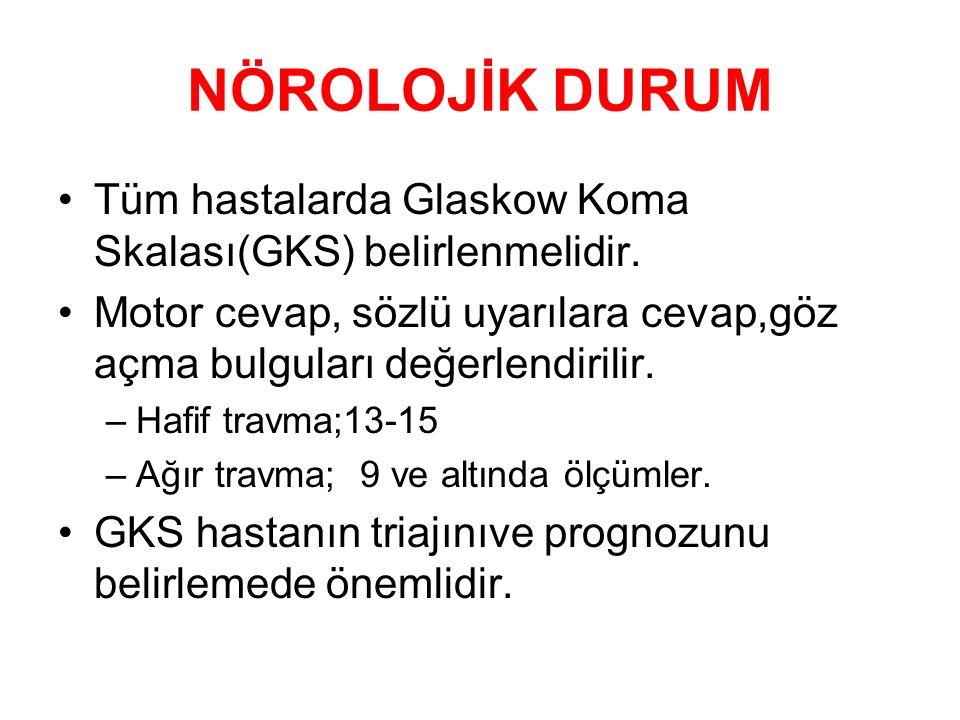 NÖROLOJİK DURUM Tüm hastalarda Glaskow Koma Skalası(GKS) belirlenmelidir. Motor cevap, sözlü uyarılara cevap,göz açma bulguları değerlendirilir.