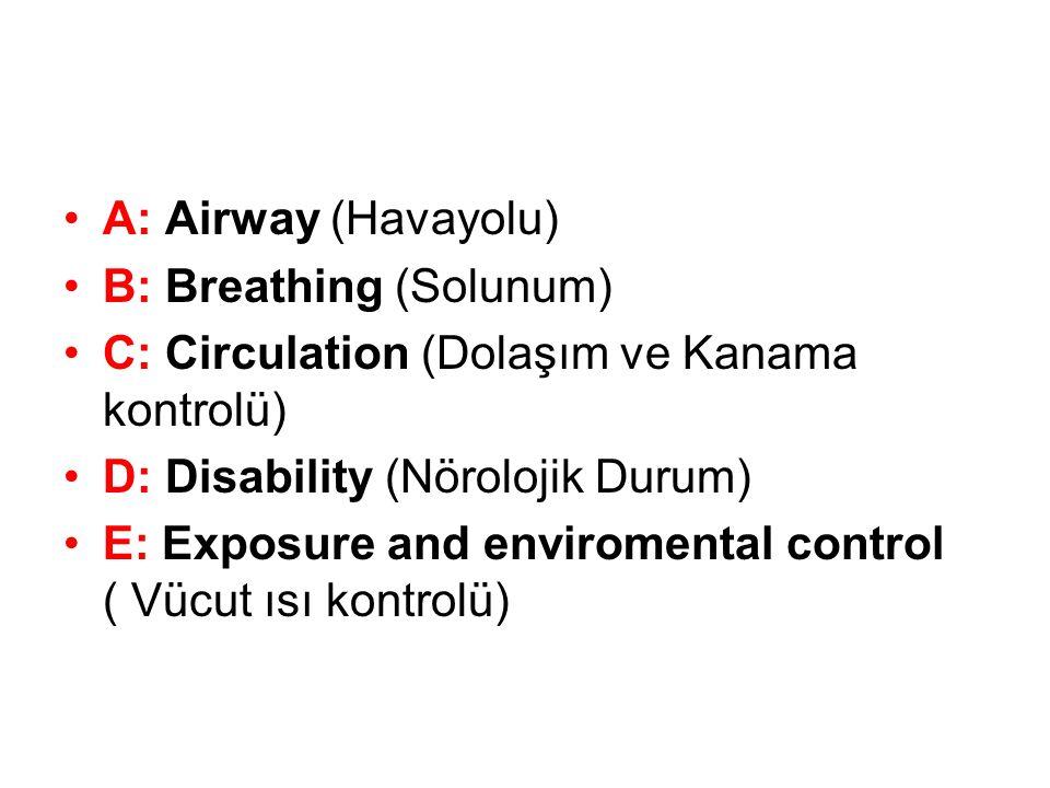 A: Airway (Havayolu) B: Breathing (Solunum) C: Circulation (Dolaşım ve Kanama kontrolü) D: Disability (Nörolojik Durum)