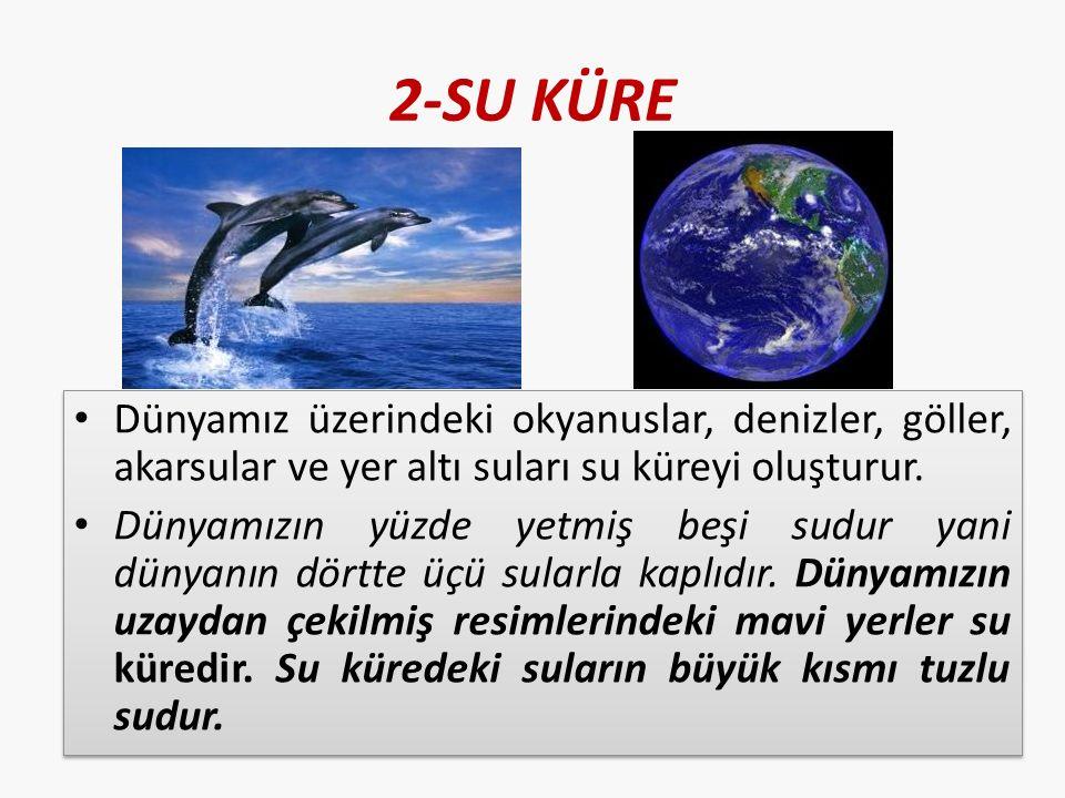 2-SU KÜRE Dünyamız üzerindeki okyanuslar, denizler, göller, akarsular ve yer altı suları su küreyi oluşturur.