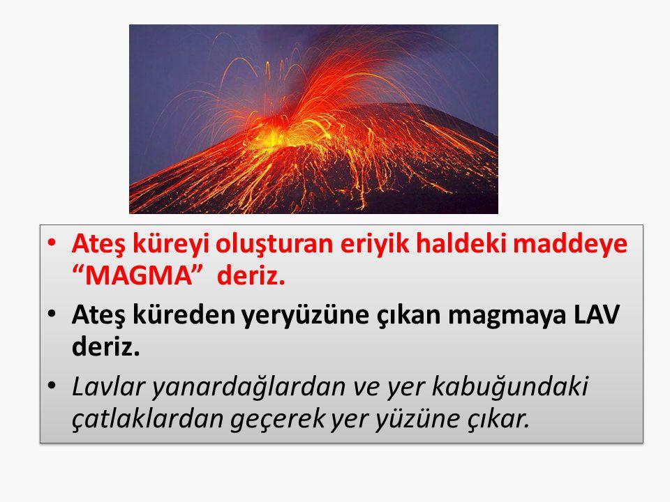 Ateş küreyi oluşturan eriyik haldeki maddeye MAGMA deriz.