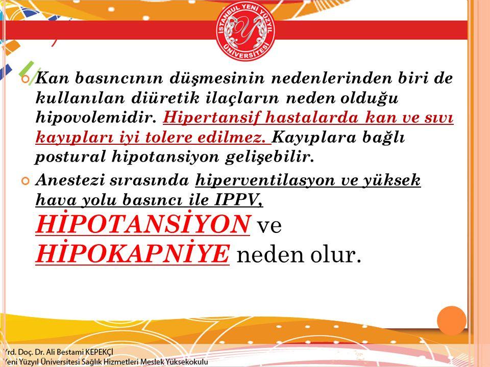 Kan basıncının düşmesinin nedenlerinden biri de kullanılan diüretik ilaçların neden olduğu hipovolemidir. Hipertansif hastalarda kan ve sıvı kayıpları iyi tolere edilmez. Kayıplara bağlı postural hipotansiyon gelişebilir.