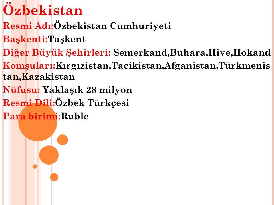 Özbekistan Resmi Adı:Özbekistan Cumhuriyeti Başkenti:Taşkent