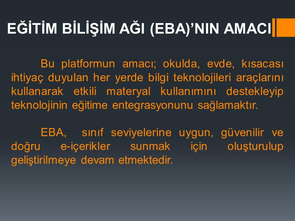EĞİTİM BİLİŞİM AĞI (EBA)'NIN AMACI