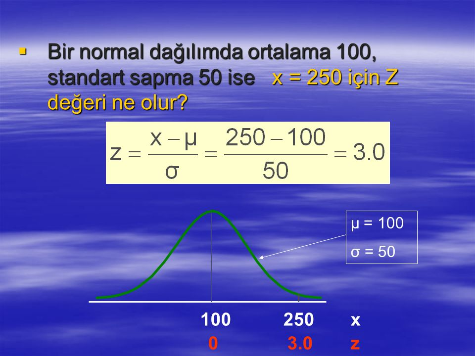 Bir normal dağılımda ortalama 100, standart sapma 50 ise x = 250 için Z değeri ne olur