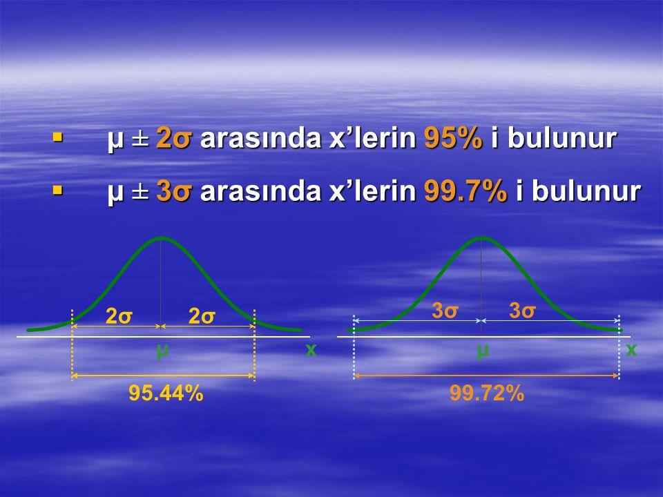 μ ± 2σ arasında x'lerin 95% i bulunur
