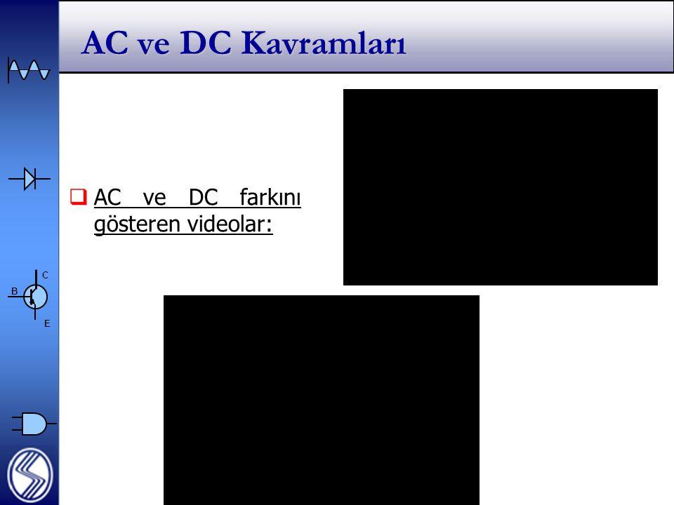 AC ve DC Kavramları AC ve DC farkını gösteren videolar: