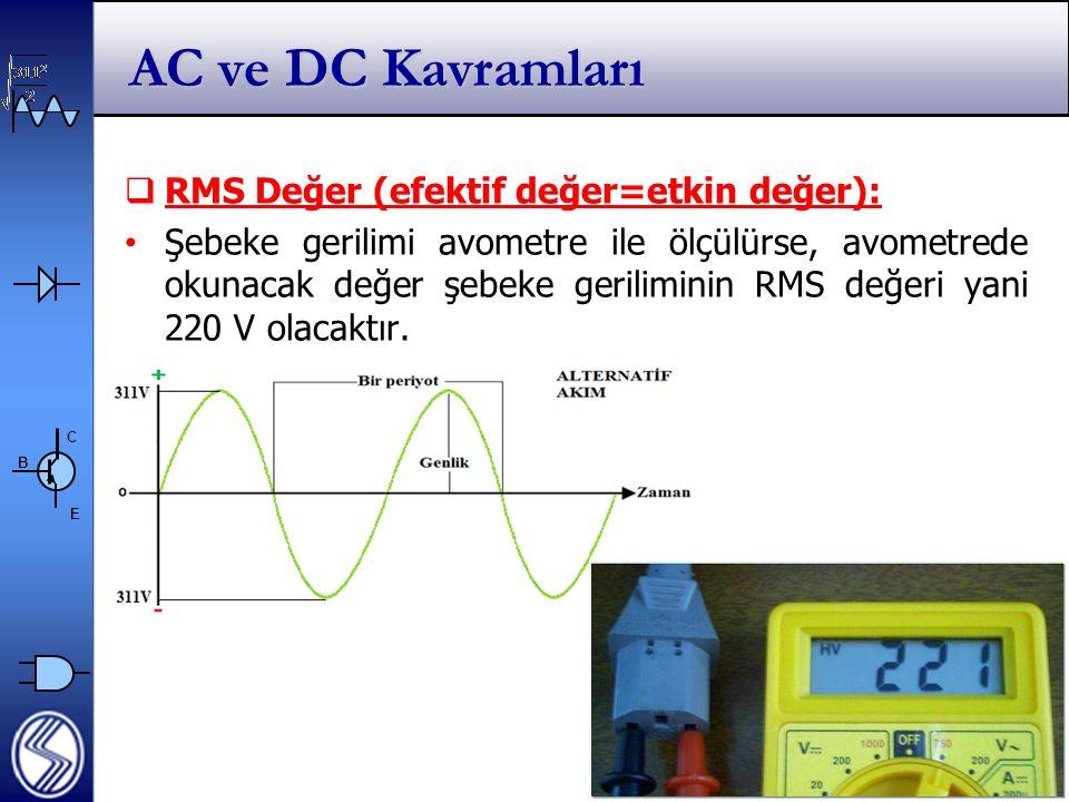 AC ve DC Kavramları RMS Değer (efektif değer=etkin değer):
