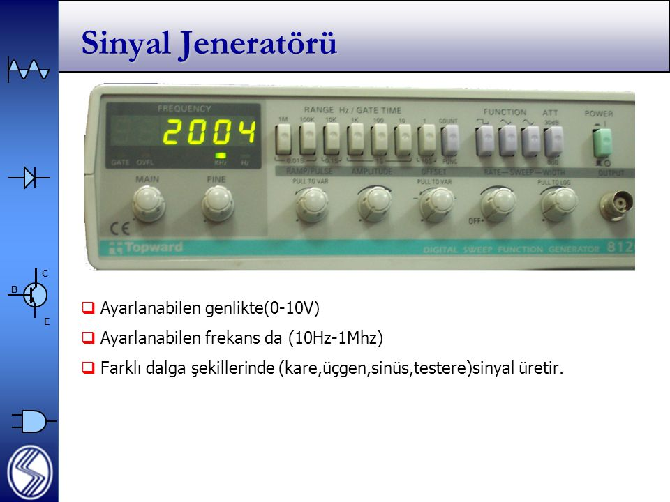 Sinyal Jeneratörü Ayarlanabilen genlikte(0-10V)