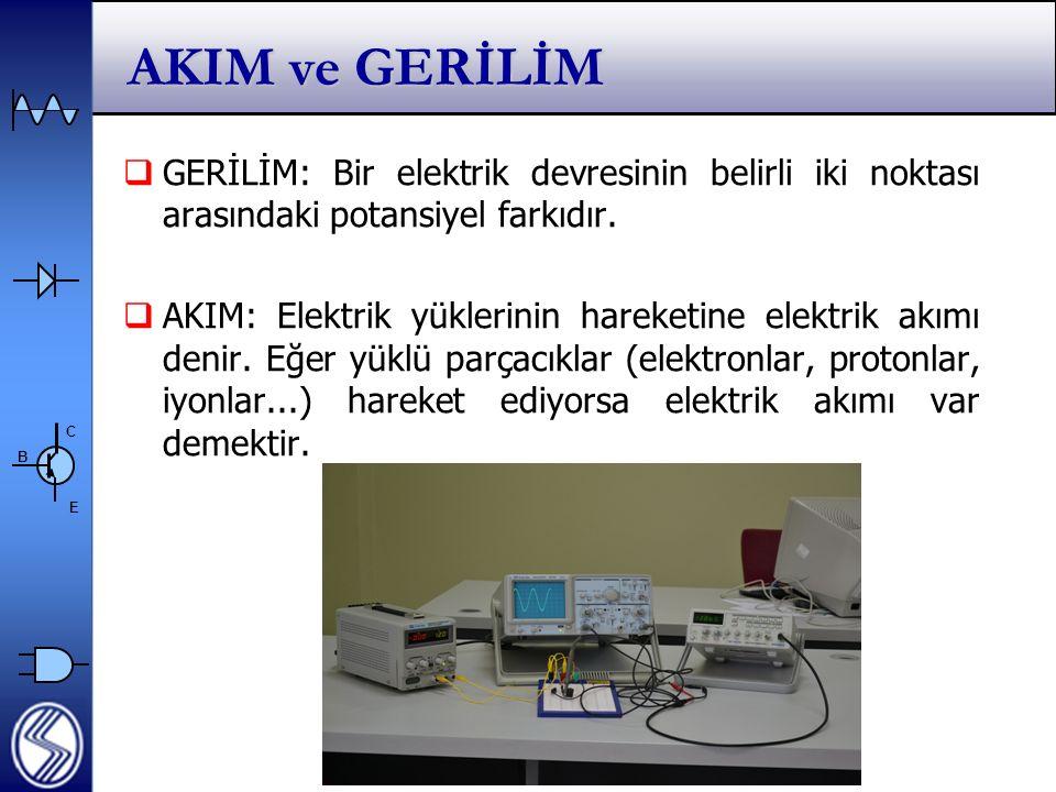 AKIM ve GERİLİM GERİLİM: Bir elektrik devresinin belirli iki noktası arasındaki potansiyel farkıdır.