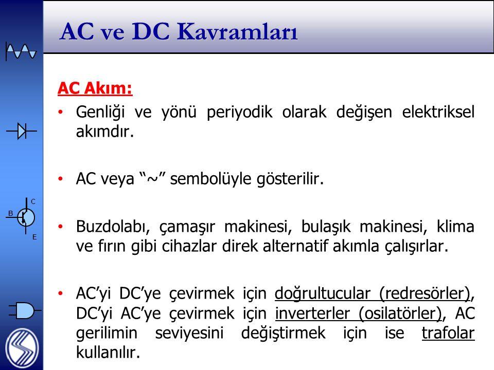 AC ve DC Kavramları AC Akım: