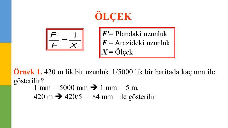 ÖLÇEK F'= Plandaki uzunluk F = Arazideki uzunluk X = Ölçek