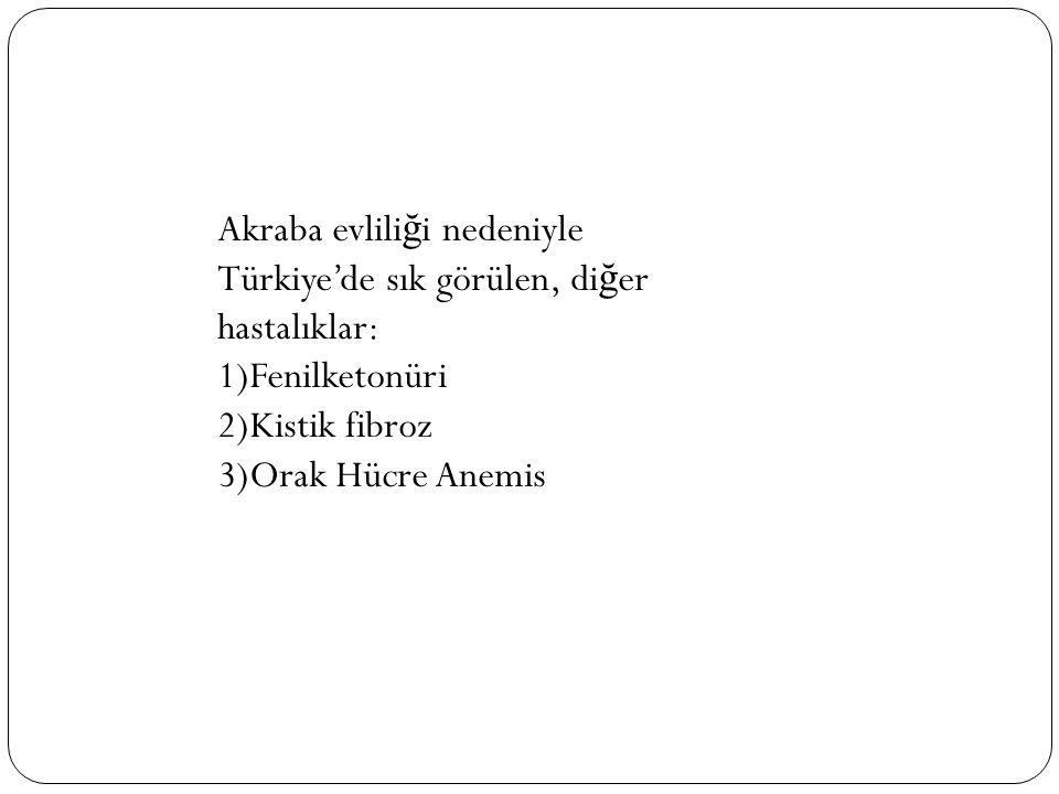 Akraba evliliği nedeniyle Türkiye'de sık görülen, diğer hastalıklar: