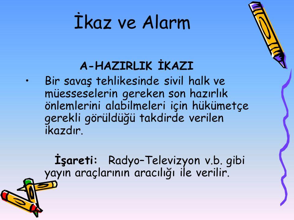 İkaz ve Alarm A-HAZIRLIK İKAZI