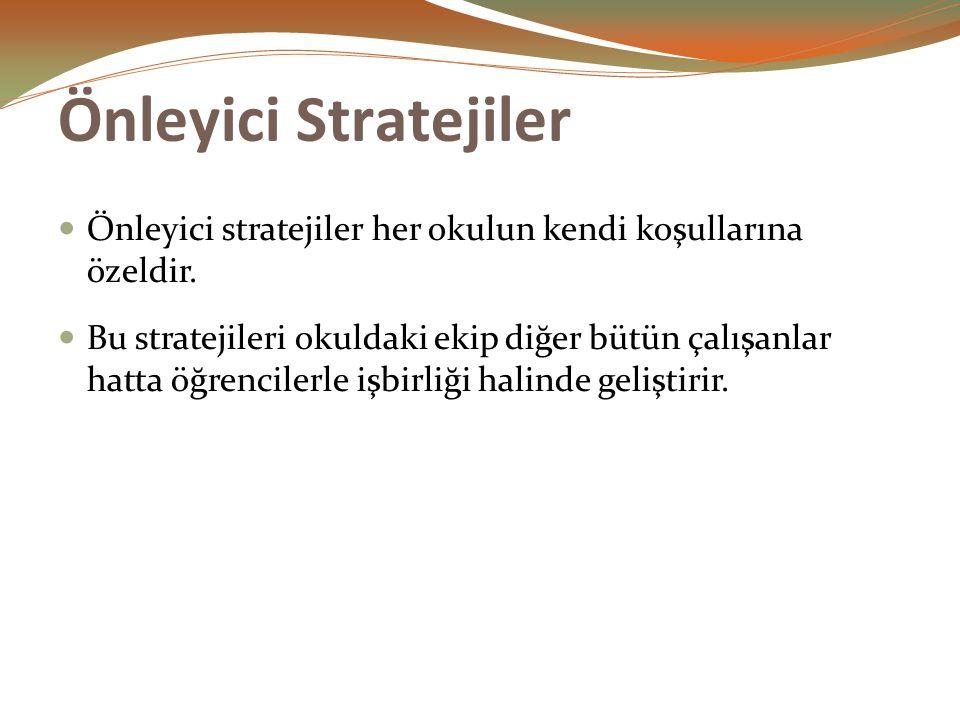 Önleyici Stratejiler Önleyici stratejiler her okulun kendi koşullarına özeldir.