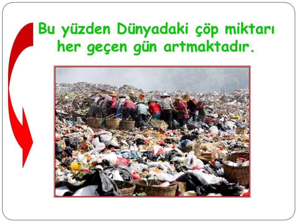 Bu yüzden Dünyadaki çöp miktarı her geçen gün artmaktadır.