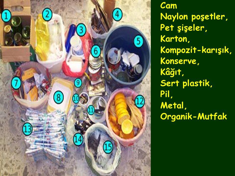 Cam Naylon poşetler, Pet şişeler, Karton, Kompozit-karışık, Konserve, Kâğıt, Sert plastik, Pil,