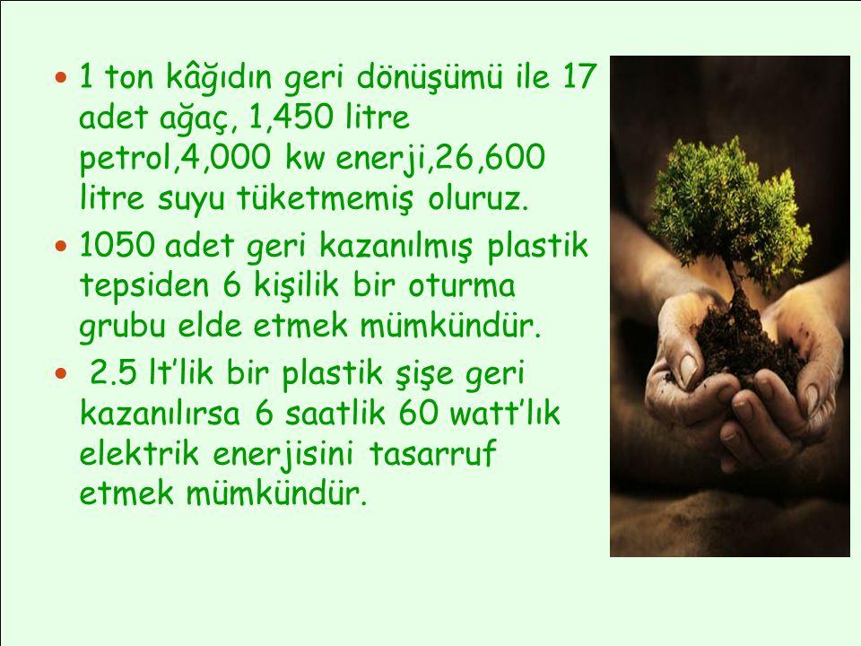 1 ton kâğıdın geri dönüşümü ile 17 adet ağaç, 1,450 litre petrol,4,000 kw enerji,26,600 litre suyu tüketmemiş oluruz.