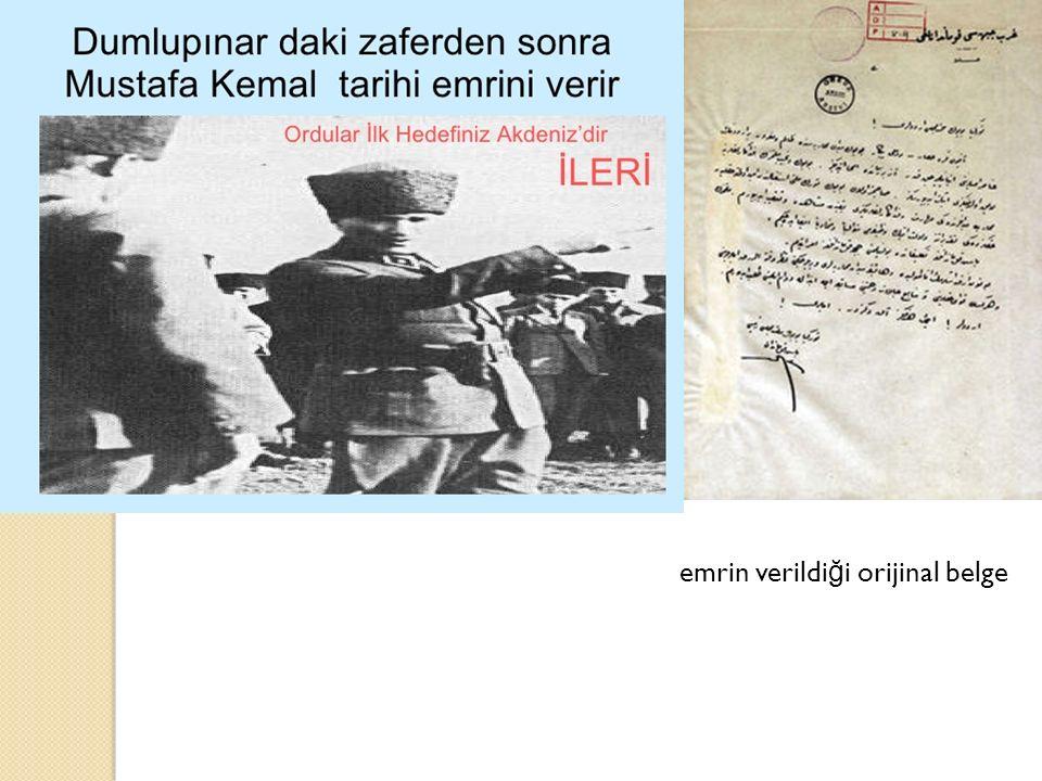 emrin verildiği orijinal belge