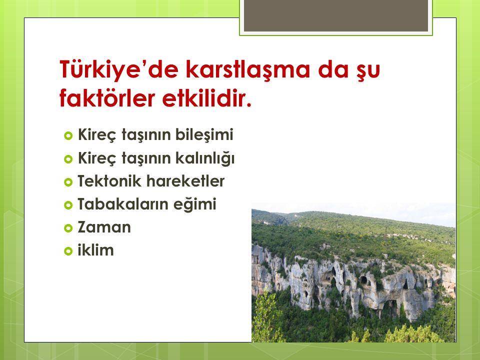 Türkiye'de karstlaşma da şu faktörler etkilidir.