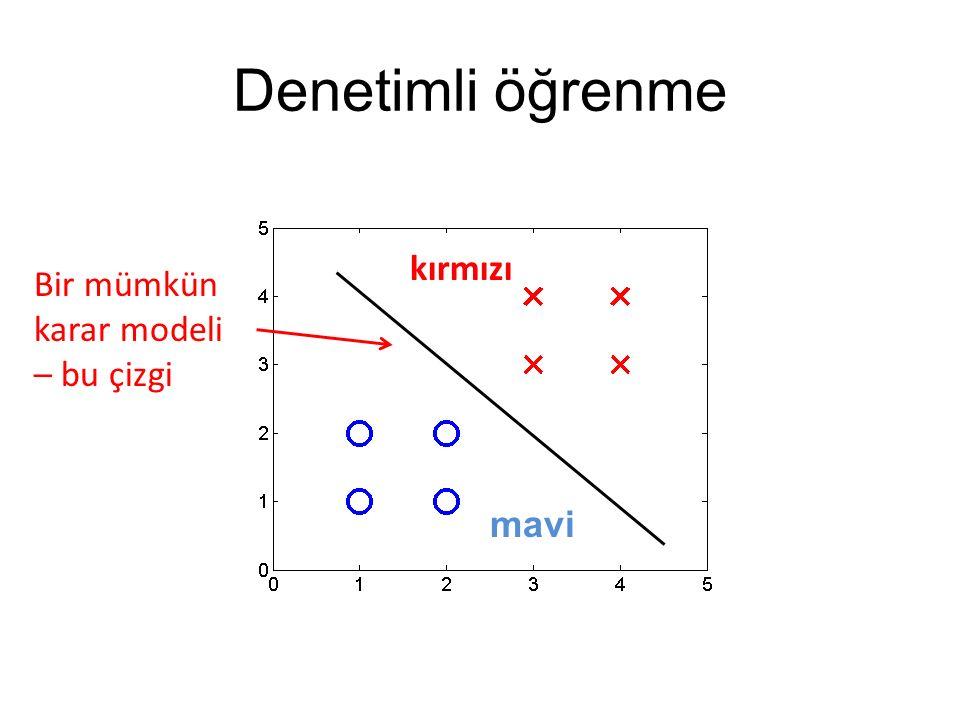 Denetimli öğrenme kırmızı Bir mümkün karar modeli – bu çizgi mavi