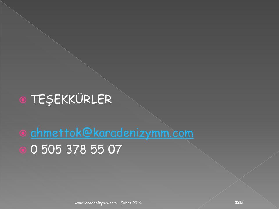 TEŞEKKÜRLER ahmettok@karadenizymm.com 0 505 378 55 07