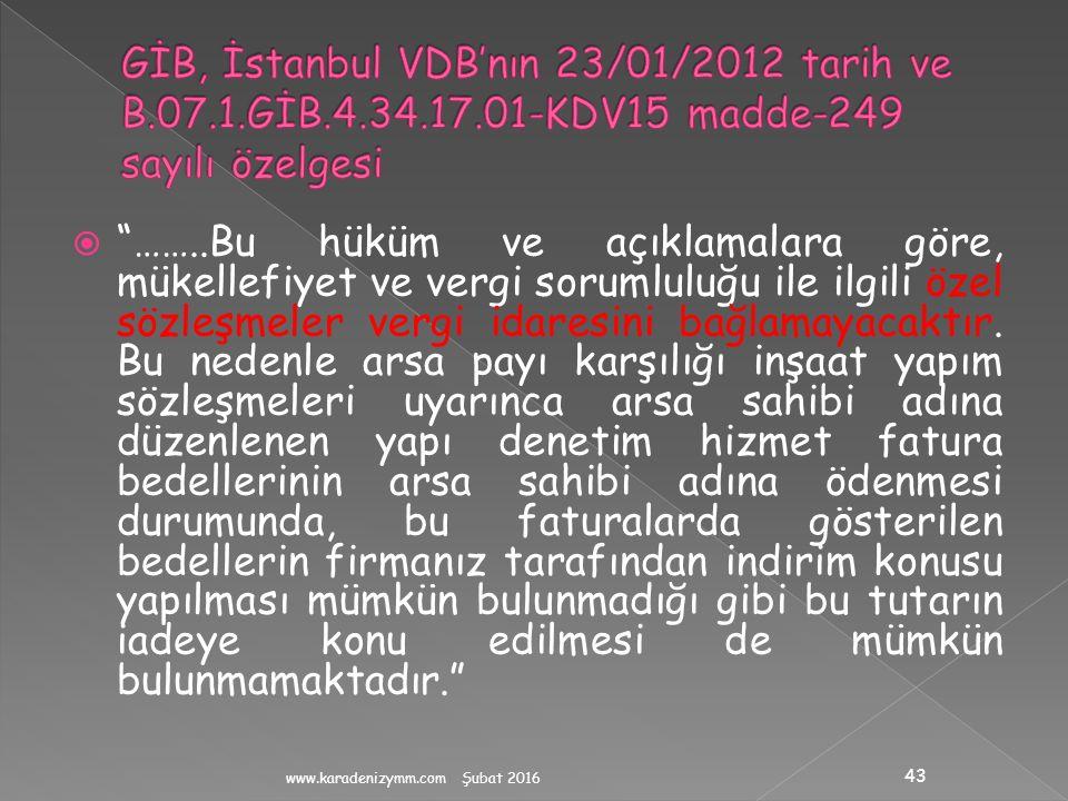 GİB, İstanbul VDB'nın 23/01/2012 tarih ve B. 07. 1. GİB. 4. 34. 17