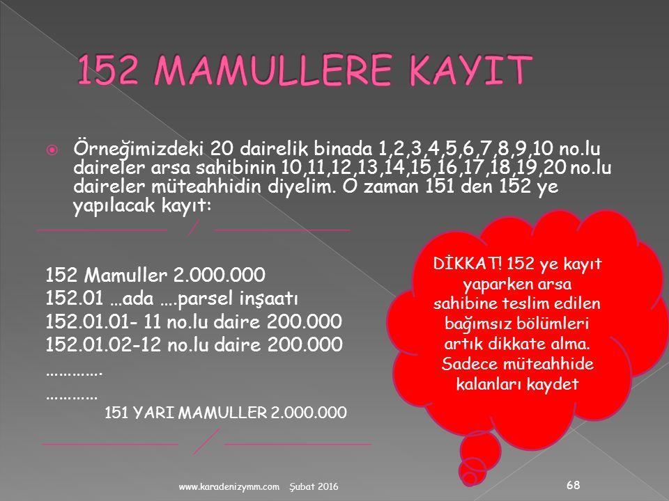 152 MAMULLERE KAYIT