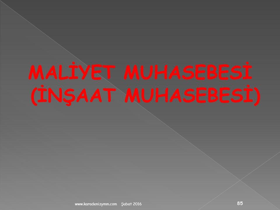 MALİYET MUHASEBESİ (İNŞAAT MUHASEBESİ)
