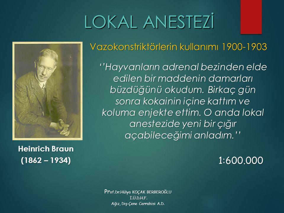 LOKAL ANESTEZİ Vazokonstriktörlerin kullanımı 1900-1903
