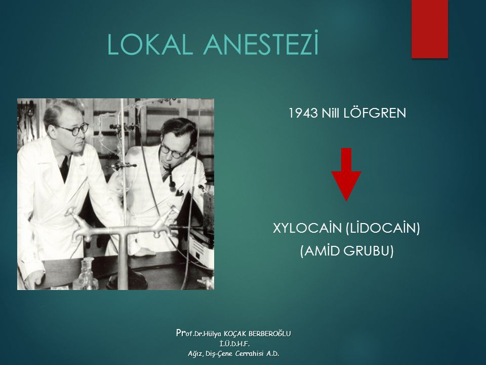 LOKAL ANESTEZİ 1943 Nill LÖFGREN XYLOCAİN (LİDOCAİN) (AMİD GRUBU)