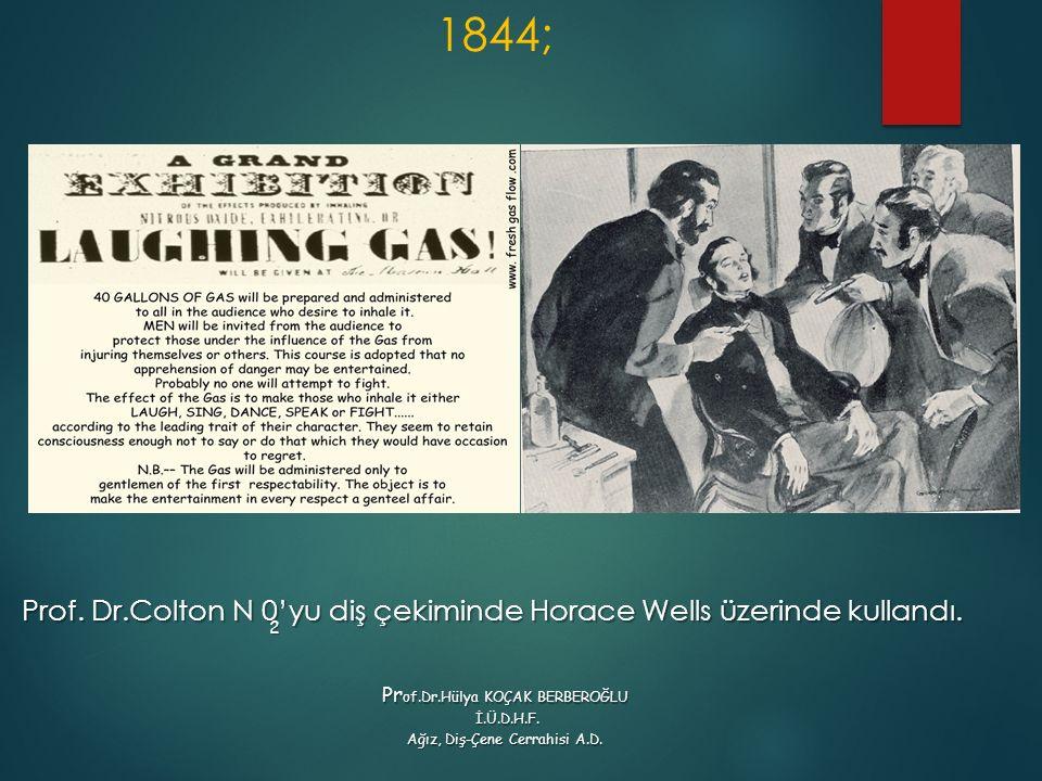 1844; Prof. Dr.Colton N 0'yu diş çekiminde Horace Wells üzerinde kullandı. 2. Prof.Dr.Hülya KOÇAK BERBEROĞLU.