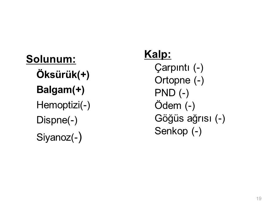 Kalp: Solunum: Çarpıntı (-) Öksürük(+) Ortopne (-) Balgam(+) PND (-)