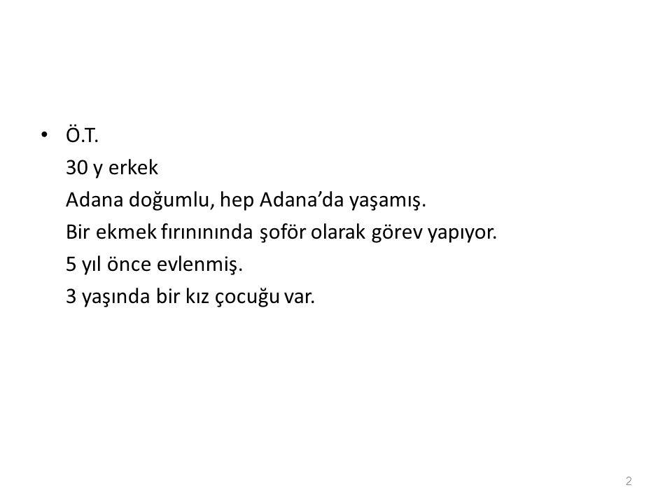 Ö.T. 30 y erkek. Adana doğumlu, hep Adana'da yaşamış. Bir ekmek fırınınında şoför olarak görev yapıyor.