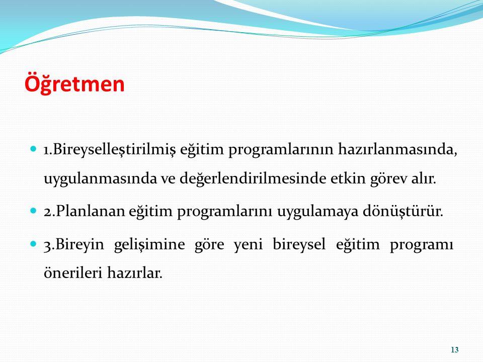Öğretmen 1.Bireyselleştirilmiş eğitim programlarının hazırlanmasında, uygulanmasında ve değerlendirilmesinde etkin görev alır.
