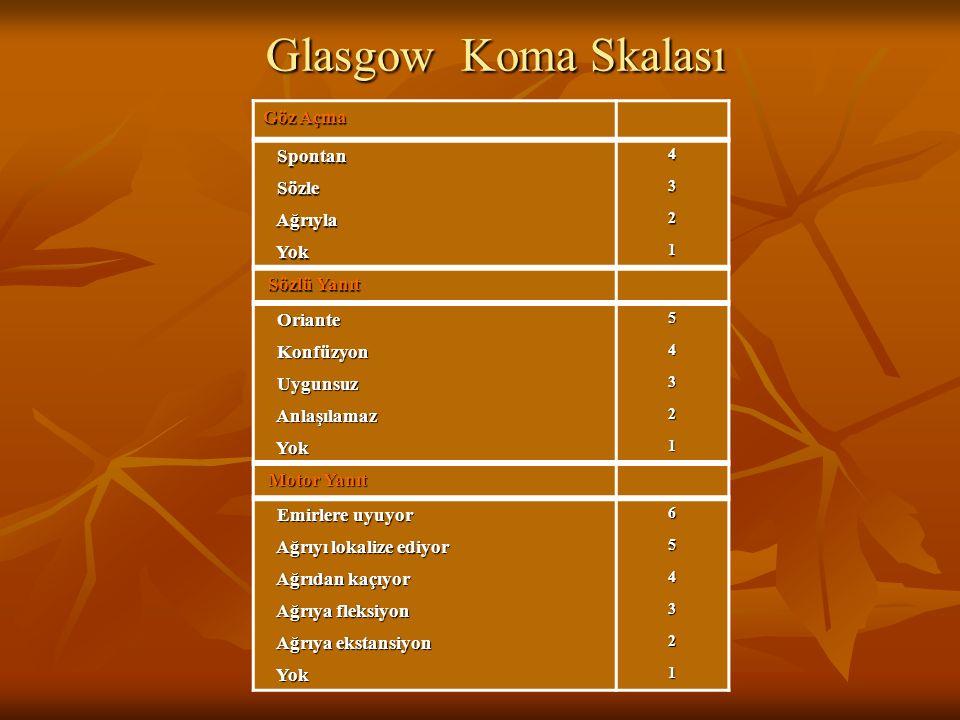Glasgow Koma Skalası Göz Açma Spontan Sözle Ağrıyla Yok Sözlü Yanıt